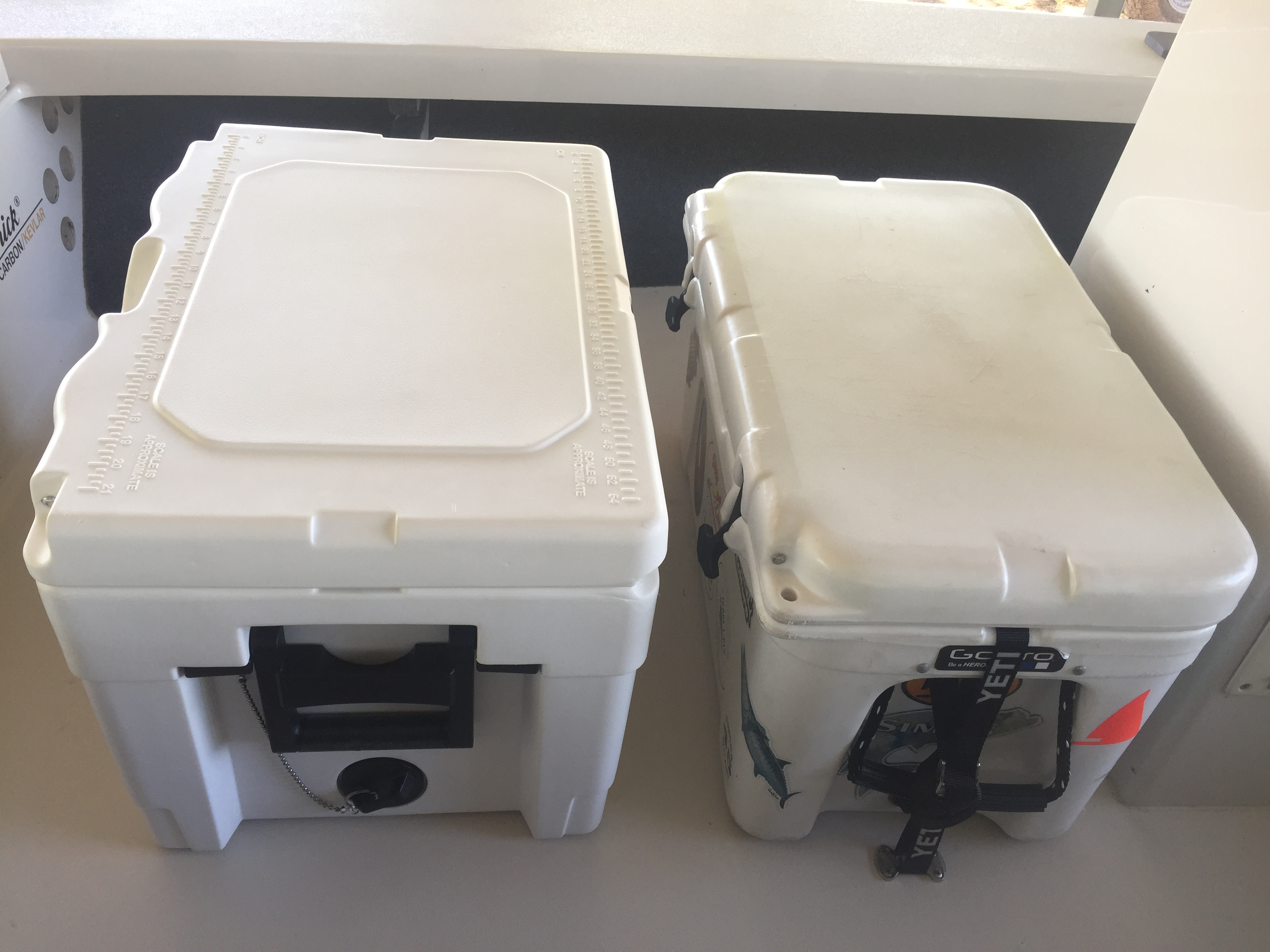 roto molded cooler. i bought an igloo sportsman 40 and got it in the other day. is just a little larger outside than 45 yeti but inside also quite bit larger. roto molded cooler